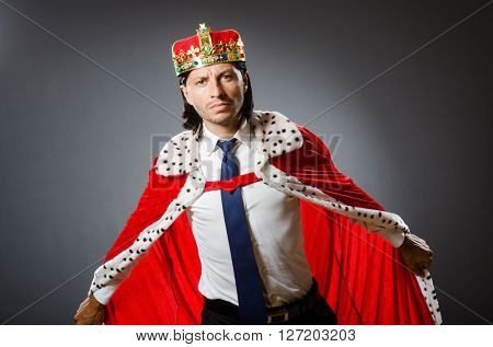 Young king businessman in royal concept