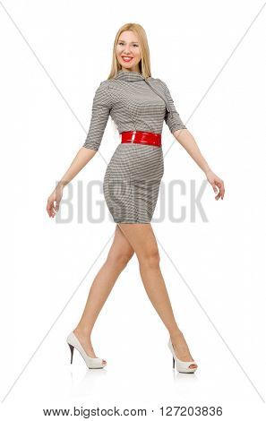 Pretty young woman in gray dress isolated on white