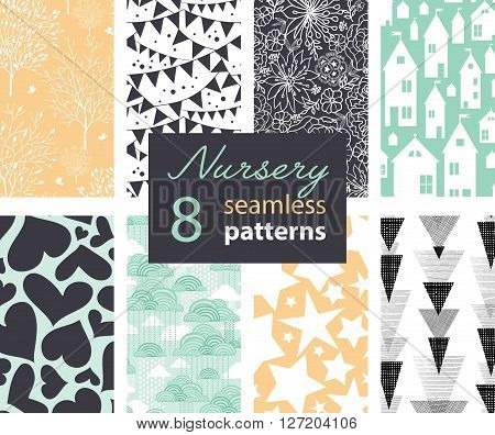 Vector Neutral Nursery Decor Repeat Patterns 8 Set Seamless Pattern With Houses, Bunting, Flowers, Hearts, Clouds and Stars. Perfect for matching kids room wallpaper, bedding, furniture. Textile design and surface pattern graphic design set.