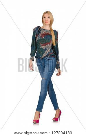 Tall blond hair model posing in blue jeans isolated on white