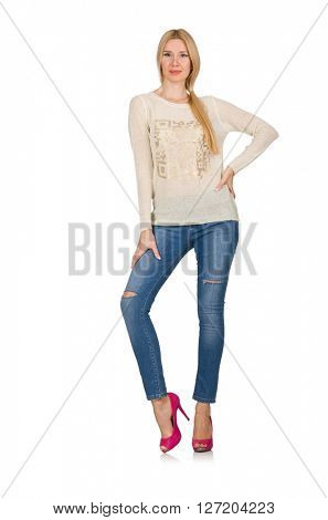 Blond hair woman posing in blue jeans isolated on white