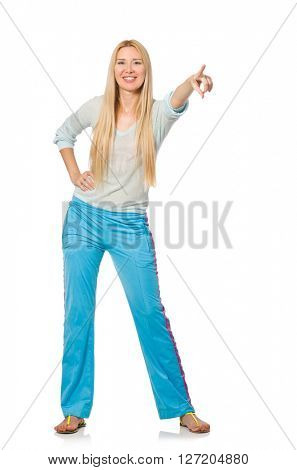 Young woman wearing blue training pants isolated on white