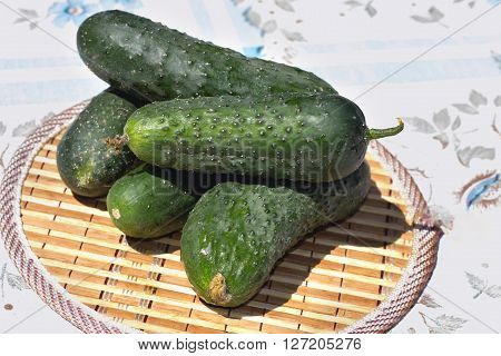 Cucumbers Stacked Pile On A Rustic Table Ingredients