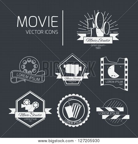 Set of vector cinema logos and signs. Movie studios and cinema badges. Vintage emblems with sample text.