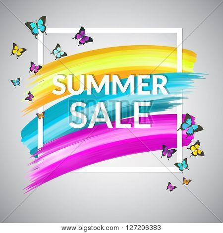 Colorful Summer Sale Banner. Summer Sale Banner design for promotion. Sale Poster with frame and butterflies. Summer Sale Banner Vector. Summer Sale Banner background. Summer Sale Banner illustration
