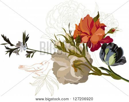 Illustration with pink flowers bouquet isolated on white background. Design elements.