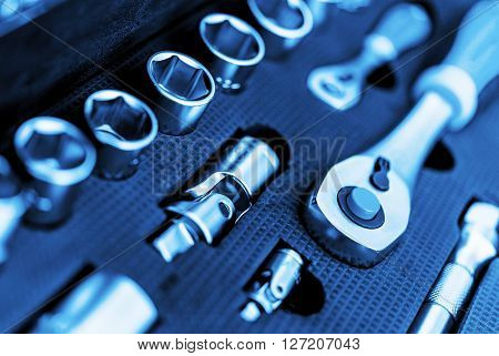 Garage Tools Set Closeup Photo. Brand New Heavy Duty Tools.