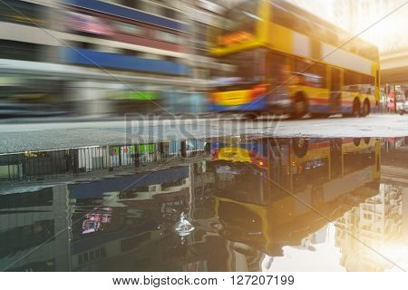 motion double-decker bus,hongkong china.