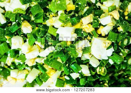 Chopped Onion And Boiled Eggs.