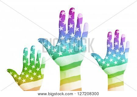 Gay voters raising their hands