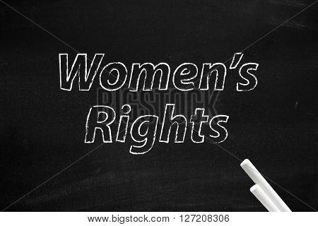Womens rights written on board