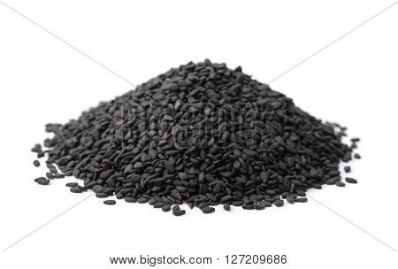 Pile of black sesame seeds isolated on white