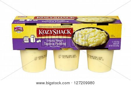 RIVER FALLS,WISCONSIN-APRIL 24,2016: A six pack of KozyShack brand Tapioca pudding. KozyShack is headquartered in Hicksville,New York.