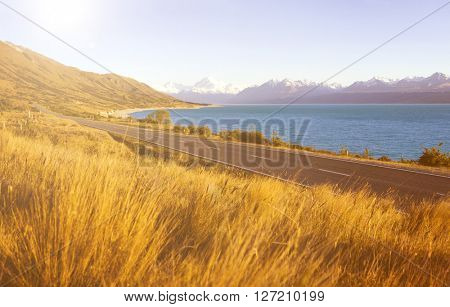 Country Scenery Lake Mountain Landscape Remote Concept