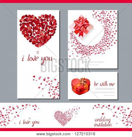 Templates with heart made of red rose petals.  Phrase I love you.   Symbols of love  for romantic design,  wedding invitations, advertisement.