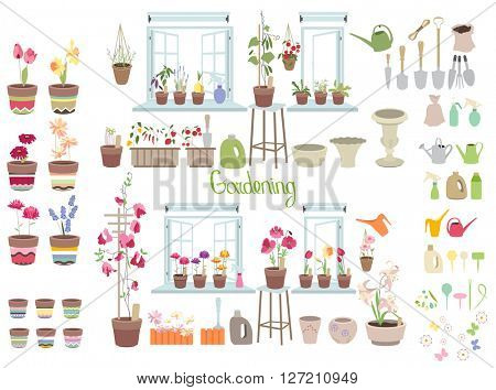 Gardening tools for plants isolated on white. Objects for your design, advertisement, posters.