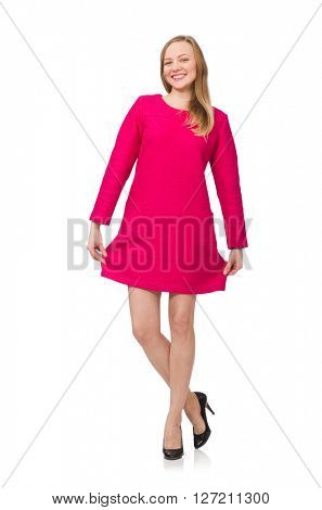 Pretty girl in pink dress isolated on white