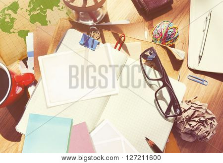 Designer Desk Architectural Tools Notebook Working Place Concept