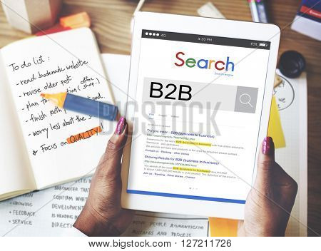 B2B Business to Business Transaction Partnership Concept