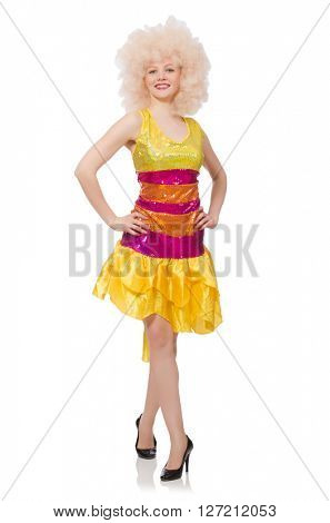 Woman in funny sparkling yellow dress isolated on white