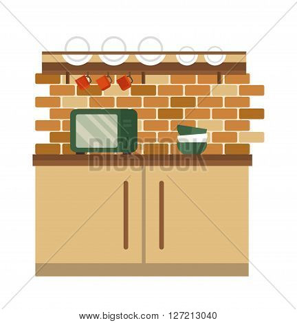 Kitchen and furniture interior flat style vector illustration. Kitchen interior different color design flat vector. Kitchen design. Kitchen room design, kitchen floor
