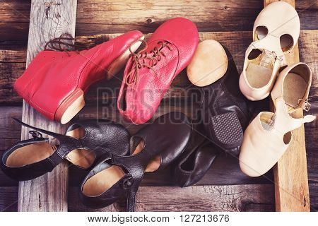 Jazz Dance shoes of different colors, image tinted.