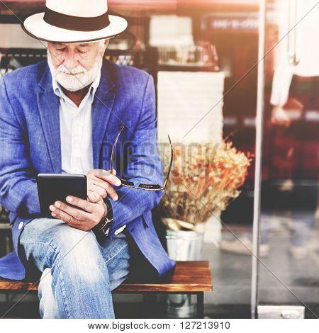 Senior Man Digital Tablet Communication Connection Technology Concept