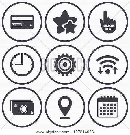 Clock, wifi and stars icons. ATM cash machine withdrawal icons. Insert bank card, click here and check PIN, processing and get cash symbols. Calendar symbol.