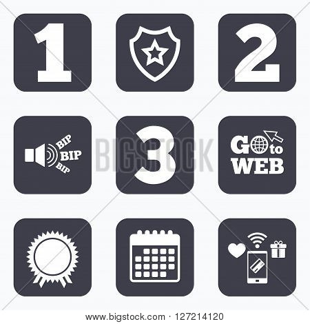 Mobile payments, wifi and calendar icons. First, second and third place icons. Award medal sign symbol. Go to web symbol.