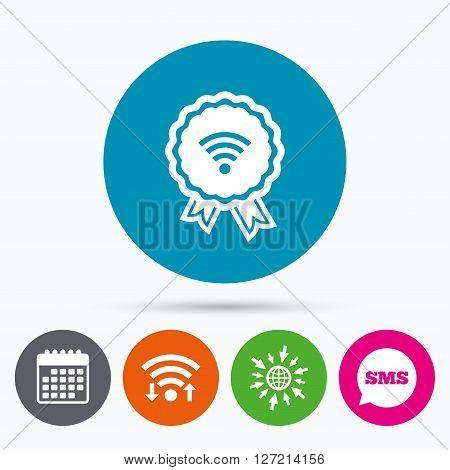 Wifi, Sms and calendar icons. Award Wifi sign. Wi-fi medal symbol. Wireless Network icon. Wifi zone. Go to web globe.