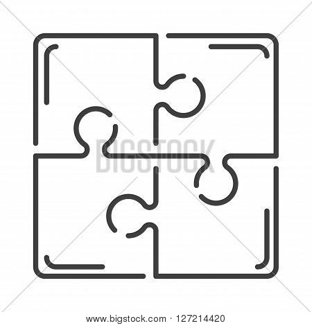 Various sizes puzzle set jigsaw puzzle blank template or cutting guidelines vector illustration. Graphic design puzzles and puzzles pattern. Line puzzle symbol of outline team building concept element