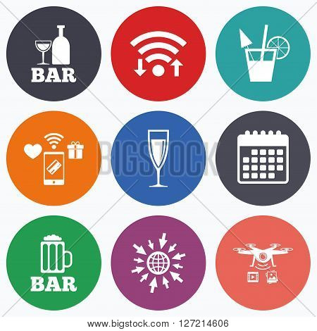 Wifi, mobile payments and drones icons. Bar or Pub icons. Glass of beer and champagne signs. Alcohol drinks and cocktail symbols. Calendar symbol.