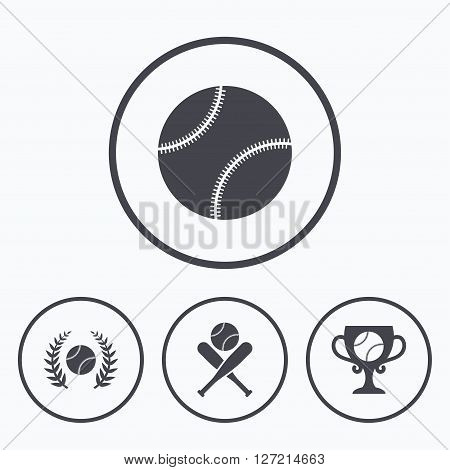 Baseball sport icons. Ball with glove and two crosswise bats signs. Winner award cup symbol. Icons in circles.