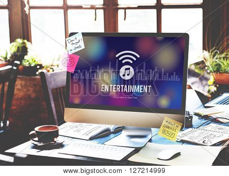 Entertainment Broadcasting Media Online Music Concept
