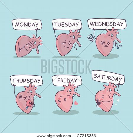 cute cartoon heart with week billboard great for health care concept