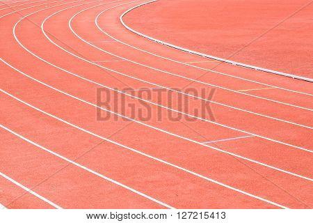 Running track in the stadium background in daylight