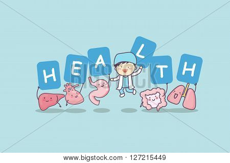 Happy organ cartoon with billboard - heart lung liver stomach intestine and doctor great for health care concept