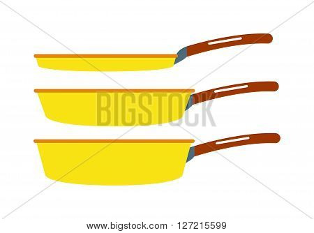 Cartoon pan cooking steel home kitchen equipment pot vector illustration. Cooking pan cartoon and food preparing handle metal pan cartoon. Kitchenware pan cartoon restaurant preparing food.