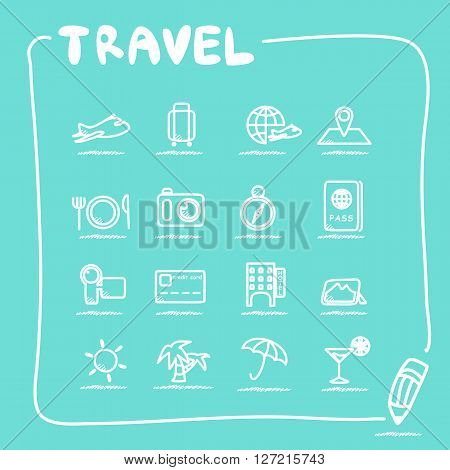 travel icon set - doodle sketch Series