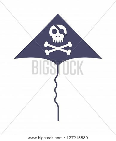 Jolly roger skull and cross bones pirate death head black flag vector illustration. Black jolly roger flag and pirate jolly roger flag. Danger black jolly roger fear caribbean scary flag.