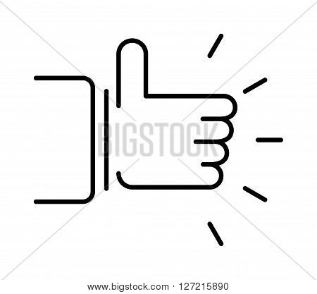 Like hand finger up sign thumb icon symbol success community line art vector. Finger up like hand icon and approve like hand icon. Good concept like hand communication networking super gesture.