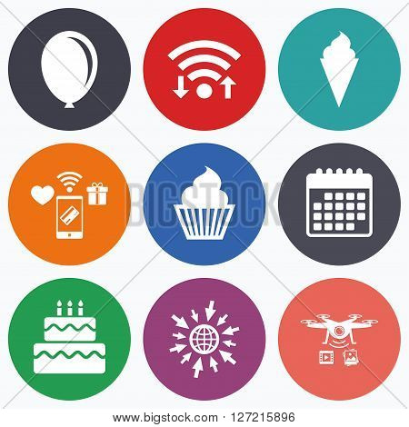 Wifi, mobile payments and drones icons. Birthday party icons. Cake with ice cream signs. Air balloon symbol. Calendar symbol.