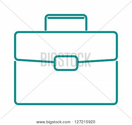 Briefcase suitcase thin icon bag line design vector. Blue suitcase thin icon and bag line design suitcase thin icon. Suitcase thin luggage business linear icon and travel work sign handle case.