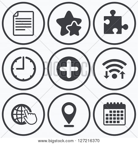 Clock, wifi and stars icons. Plus add circle and puzzle piece icons. Document file and globe with hand pointer sign symbols. Calendar symbol.