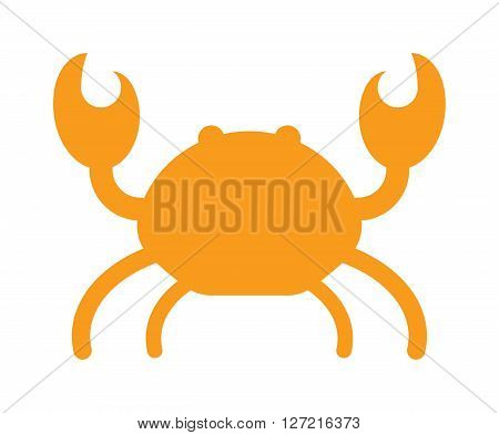 Cartoon crab silhouette funny vector illustration. Red crab isolated on white background vector. Flat red crab marine seafood character.