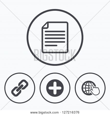 Plus add circle and hyperlink chain icons. Document file and globe with hand pointer sign symbols. Icons in circles.