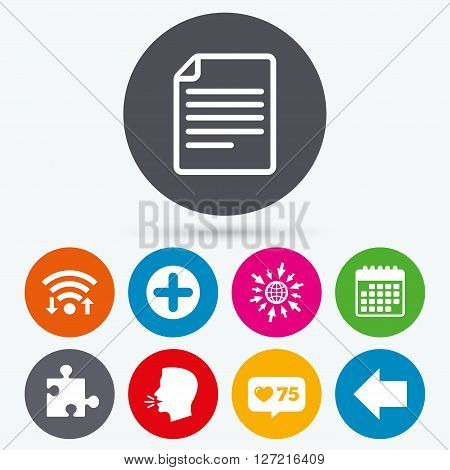 Wifi, like counter and calendar icons. Plus add circle and puzzle piece icons. Document file and back arrow sign symbols. Human talk, go to web.