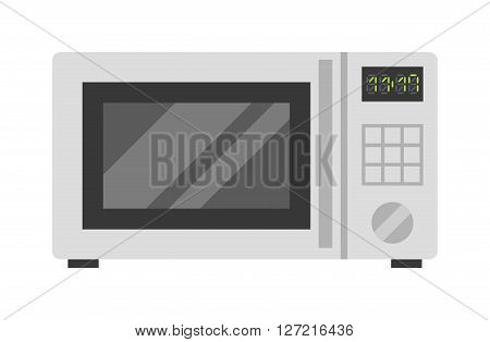Microwave oven technology appliance equipment modern flat vector illustration. Kitchen domestic prepare hot food electric microwave and electrical cooking microwave. Microwave steel appliance design.