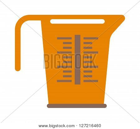 Empty measuring cup glass cooking liquid utensil measurement kitchen tool vector illustration. Measure cup kitchen tool and handle container measure cup. Kitchenware water measure cup.