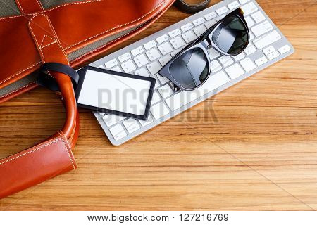 Travel Booking And Planning Concept With Blank Bag Tag